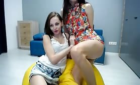 Ukrainian duo enjoy sensual sex before Vica blows her load in Milla's mouth