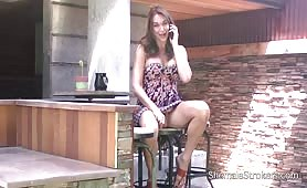 Beautiful tgirl  brunnete gets excited by phone call