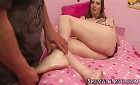 Foot worshipped tgirl