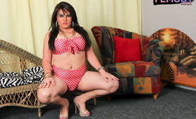 Tgirl Barbie Medina in polka dot outfit