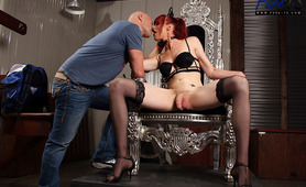 Staci Miguire fucking up submissive  male in her dungeon