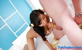 Busty ladyboy Ying sucks cock and gets fucked