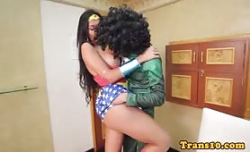 Super latina wonder woman tranny analfucked and facialized