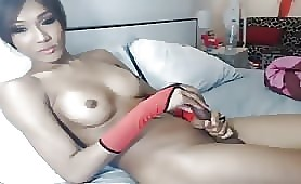 Asian shemale masturbates