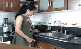 Tranny Cumming in the kitchen